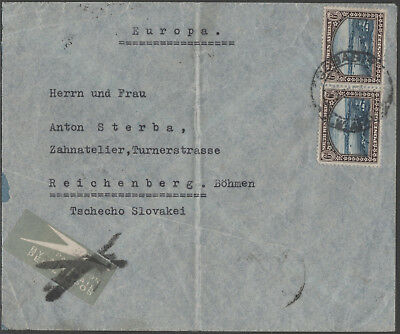 South West Africa Airmail Via Athens And Vienna Jusqua Marking To Czechoslovakia