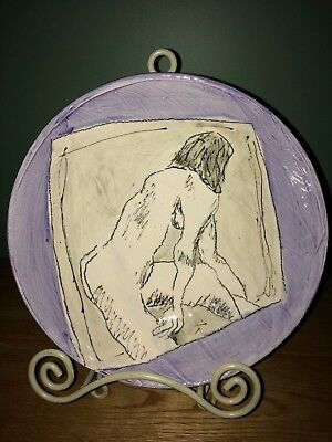 Donna McGee Art Pottery Ceramic Drawing Hadley MA Nude Lavender White Gray Black
