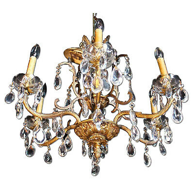 Baroque Rococo Bronze Crystal Chandelier Hanging Fixture Pendant Light Antique
