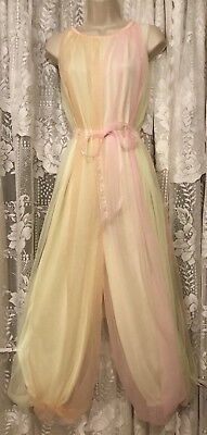 VTG Pastel Rainbow SHEER CHIFFON Nylon Palazzo Pants Nightgown Negligee Gown M L