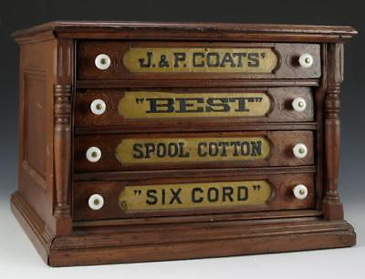 J&P COATS MAHOGANY THREAD CABINET Lot 21
