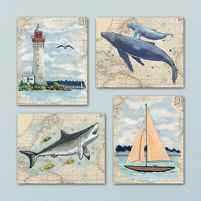 Ocean,Nautical Wall Art Prints. Kids/Nursery Shark Whale,Sailboat,beach decor