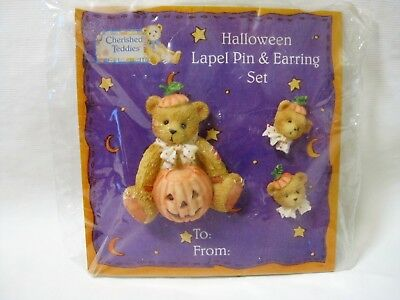 Cherished Teddies Halloween Lapel Pin & Pierced Earrings Set