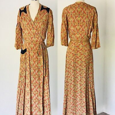 Vintage 1930's Bias Cut Art Deco Full Length Wrap Dress Belted M