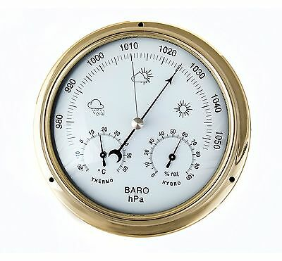 Brass Or Chrome Barometer With Integral Thermometer / Hygrometer