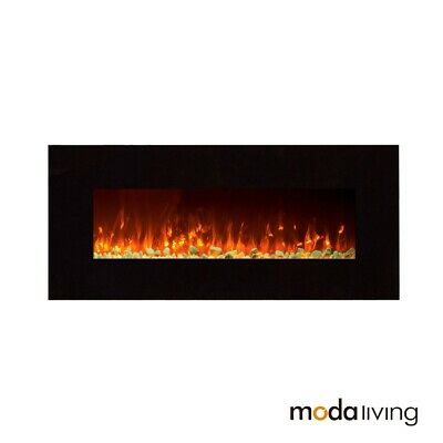 """New 1500W 50"""" Heater Electric Fireplace Wall Mounted Flame Effect White Pebbles"""