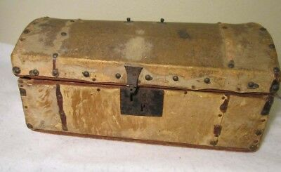 Old Wood Dome Document Doll Trunk  W / Hide Short Fur Tacks Well Worn Needs Tlc