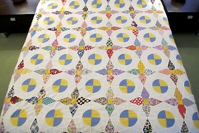 Vintage Feed Sack Novelty Prints Hand Set ROB PETER TO PAY PAUL Quilt TOP; Good!