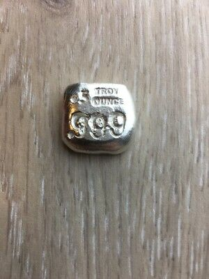 Polar Bear Pours 1/2  troy oz .999 hand poured fine silver square .5 half ozt