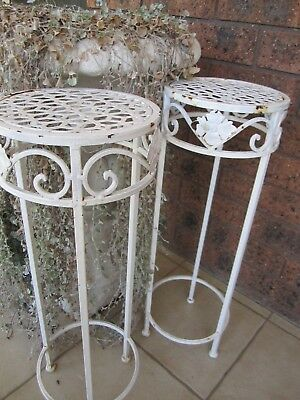 Pair of White Metal planter stands for Patio/Garden
