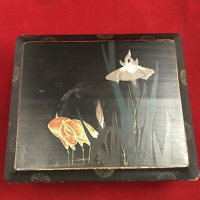 Antique Japanese Hand Painted Cranes & Flowers Lacquer Wood Box Pre 1914
