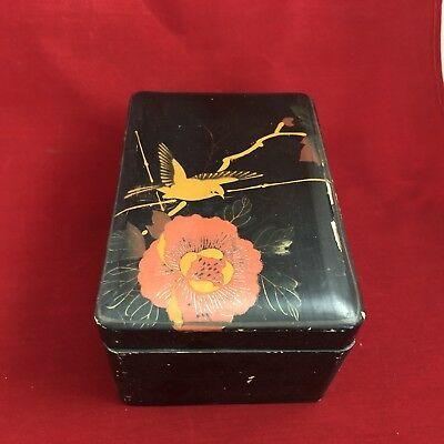 Antique Japanese Hand Painted Bird & Flower Lacquer Wood Box Pre 1914