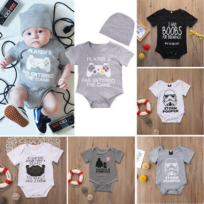 Funny Newborn Baby Boy Girl Clothes Star Wars Romper Bodysuit Outfit Sunsuit