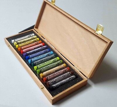 Rembrandt Soft Pastels Wooden Box Set 15 Assorted Pastels General Selection