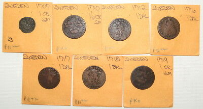 Lot of Early 1700's COINS From SWEDEN- Very Nice Lot!