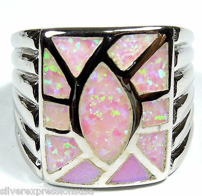 Pink Fire Opal Inlay Solid 925 Sterling Silver Ring size 6.5-9