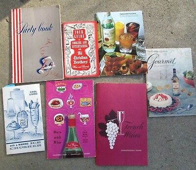 Vintage Lot of 7 Recipe Booklets Featuring Alcohol & Wine Brands Advertising