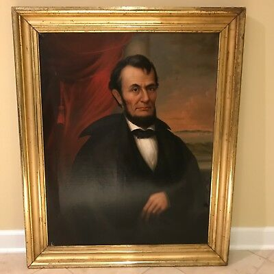 Antique 19th C. Portrait of President Abraham Lincoln Oil on Canvas Painting