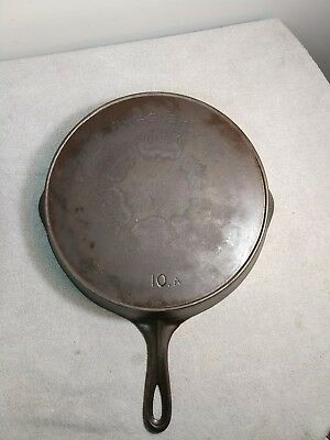 vintage wagner cast iron skillet no. 10 with heat ring sidney o Circa 1920