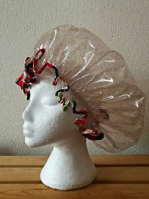 Handmade Glitter Shower Cap with Multi-Coloured Red and Green African Trim