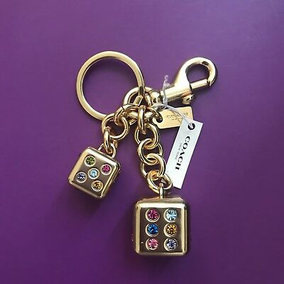 NEW Coach Gold Lucky Dice Crystal Key Ring Chain Bag Charm F22295