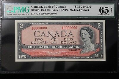 "1954 Canada. ($2) Two Dollars. ""Specimen"". # A/B 0074 PMG Graded 65 EPQ"