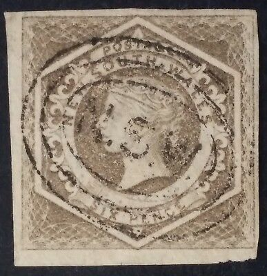 Scarce 1859- NSW Australia 6 d Fawn Imperf Large Diadem Stamp Used