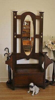 Antique Blackwood Hall Stand / Hat & Coat Stand / Lift Top Hall Seat ~ Storage