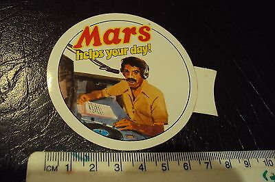 Vintage Mars helps your day (Radio announcer ) sticker 1970s