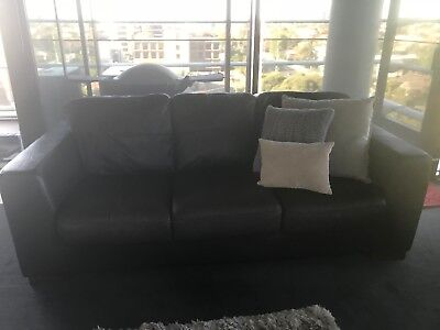 Bay Leather Republic 3 Seater Sofa and Ottoman