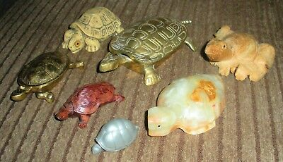 Lot Of 7 Turtle Figurines - Brass, Kirk Pewter, Carved Wood, Carved Stone...