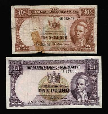 2 OLD  NZ  BANKNOTES 10 SHILLING and 1 POUND PRE-DECIMAL..GOING CHEAP..