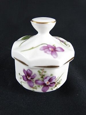 Fine Vintage HAMMERSLEY Fine Bone China Ring box Violets Made In England
