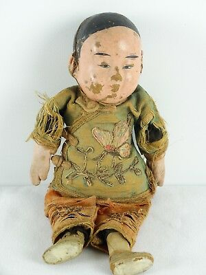 RARE Antique original 19thC Chinese Opera Doll Silk Outfit A/F China Qing Dynast