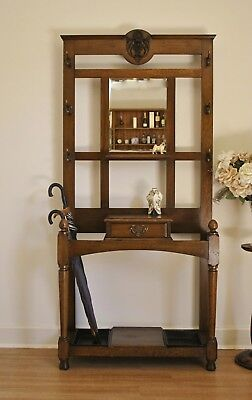 Antique Edwardian Oak 1 Drawer Hall Stand / Hat & Coat Stand ~ Carved Detail