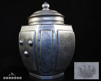 Antique Chinese Qing Dynasty Yih Tai Chong Changsha Pewter Tea Caddy