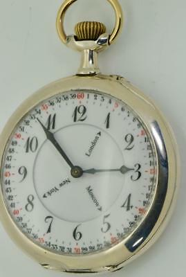 VERY RARE antique Doxa WORLD TIME silver oversize pocket watch 65mm,145g heavy!