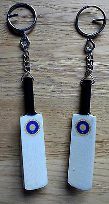 "New Hand Carved India Crest Wooden ""Mega Profile"" Cricket Bat Keyring @ Only £4"