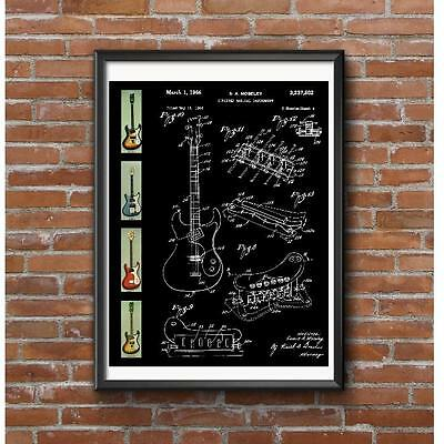 Mosrite Guitars Tribute Poster - 1966 Patent Artwork and Guitar Models