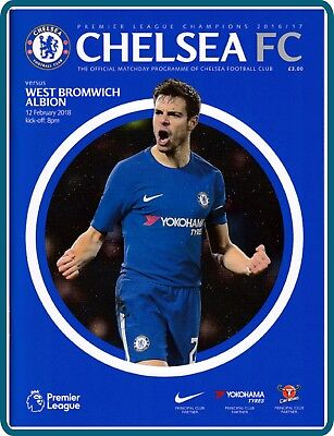 MACHDAY Programme of CHELSEA - WEST BROMWICH / MON 12 FEB 2017 + TEAMSHEET