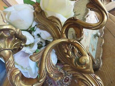 Super Pair Of Vintage French Brass Acanthus Scroll Wall Lamps / Lights ~