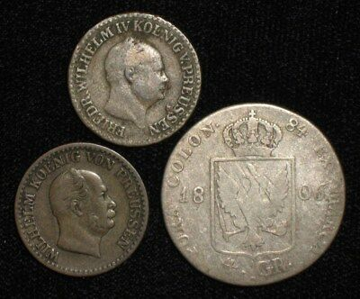 3 Silver Coins from Prussia, Germany.  1806-1862.  No Reserve!