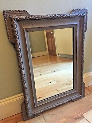 LARGE 19C Antique French Overmantle Mirror Painted Grey Original Glass 77cm m274
