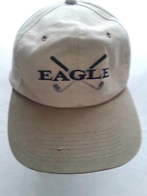 YA Ball Cap with Two Crossed Golf Clubs Behind the Word Eagle Beige Adjustable