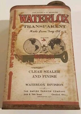 VINTAGE WATERLOX 1 quart CAN w PAPER LABEL   oil can metal Texaco standard shell