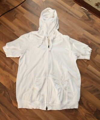 Old Navy Maternity Size XL White Terry Cloth Zip Short Sleeve Hoodie Jacket