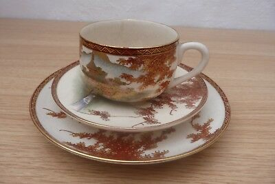 Great Quality 19Thc Japanese Satsuma Signed Trio Set, Cup, Saucer And Plate.