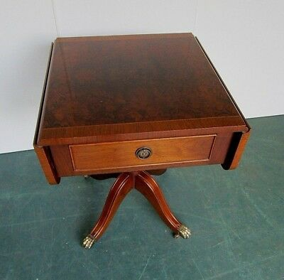 Vintage Drop Leaf Sofa Table with Wheeled Brass Feet and 1 x Working Draw