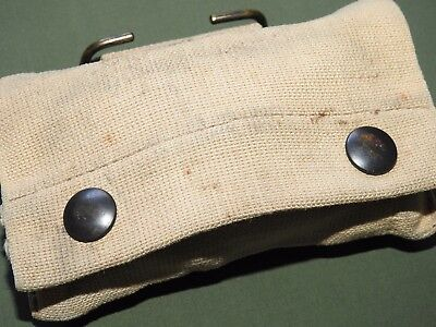 US Army USMC Marine WW2 JQMD M-1910 KHAKI FIRST AID POUCH 1942 Vtg GI Carry RARE