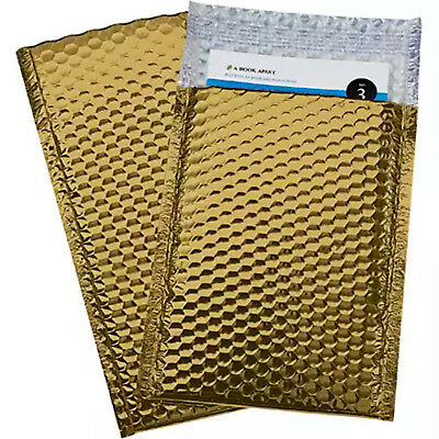 100 #5 Glamor Metallic Gold Poly Bubble Mailers Envelopes Bags 10.5x16